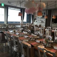 併設されている食事会場。天気が悪かった。
