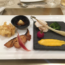 オホーツク産真鱈柚庵焼きと白子の天麩羅等