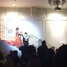 シンデレラ階段での演出は大好評でした。