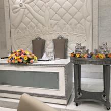 メインテーブルのお花とキャンドル