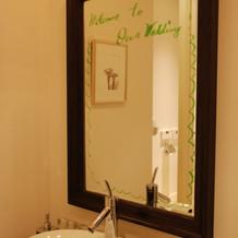 鏡にもメッセージ