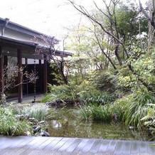 ホテル内とは思えない屋上日本庭園