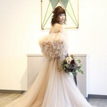 DAVID FIELDENの羽ドレス