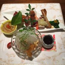 真鯛刺身、春の冷菜添え