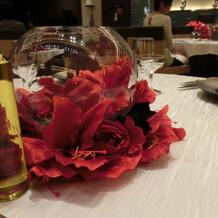 試食会の時のテーブルの装飾