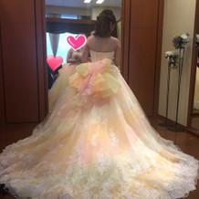 試着で着たカラードレス。①