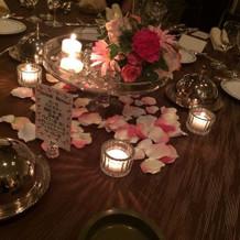 ゲストテーブルの飾り付です
