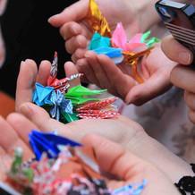 先輩方の折鶴も縁起担ぎで使います。