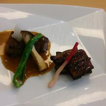 牛フィレ肉のステーキとプチ鰻