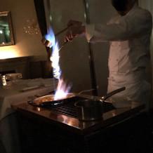 デザートの炎の演出
