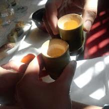 竹筒日本酒で乾杯