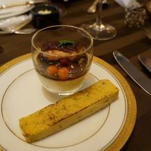 フォワグラのフランとフォワグラの味噌風味