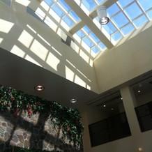 プールの天井。自然光が入ります。