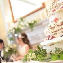 ウェディングケーキと高砂
