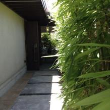石畳と竹の雰囲気がとても合ってる
