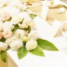 白いテーブルに映える白いバラ