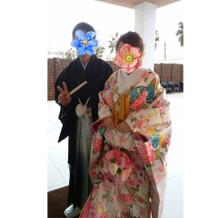 新郎の紋付袴が新郎親族に特に好評でした
