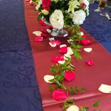 テーブルクロスと装花