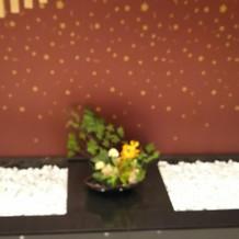 和装の際の祭殿 の入り口桜をイメージ