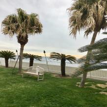 芝生のガーデンから海が見える