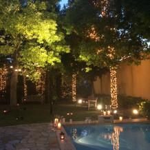 お庭のライトアップも素敵