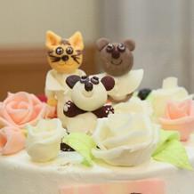 ケーキの上の飾りはリクエストしました。