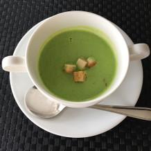 枝豆のスープ?とても美味しいです。
