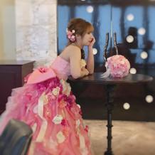 ピンクの髪飾りで更に可愛くなります!