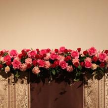 新郎新婦卓の装花です。