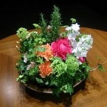 ホテルのエントランス前に飾られたお花。