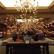 ホテルのエントランス前に飾られた桜。