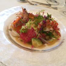 前菜です!新鮮な魚介と野菜!