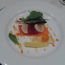 前菜の魚貝のマリネ