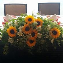 向日葵の花で飾り付けしてもらいました。