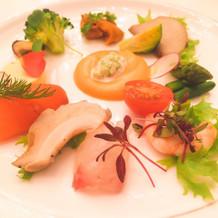 野菜もたくさんで彩り鮮やかな前菜でした。