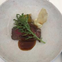国産牛ロース肉のロティ 魚料理撮り忘れ