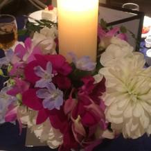キャンドルと花