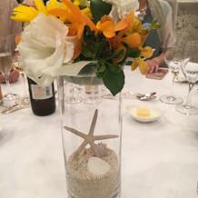 ゲストテーブルのお花もひまわり