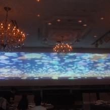三面スクリーンの映像演出