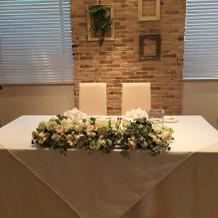 広い挙式スペースメインテーブル