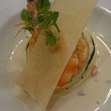 車海老と白身魚のスフレ