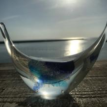 琉球ガラスのリングピローです