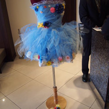 二次会の手作りドレス飾ってもらいました