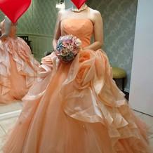 取り寄せのカラードレス。値段は高め。