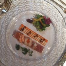 音楽モチーフの盛り付けの前菜!