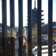 会場からみえる八坂の塔
