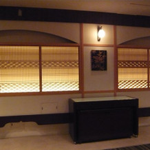 披露宴会場の組み木細工。とてもきれい。