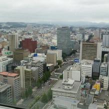 会場から見える街並み。天気は曇り。