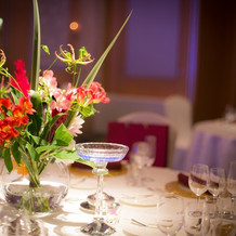 テーブルの装花