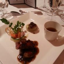 牛肉のグリルとフォアグラソテー